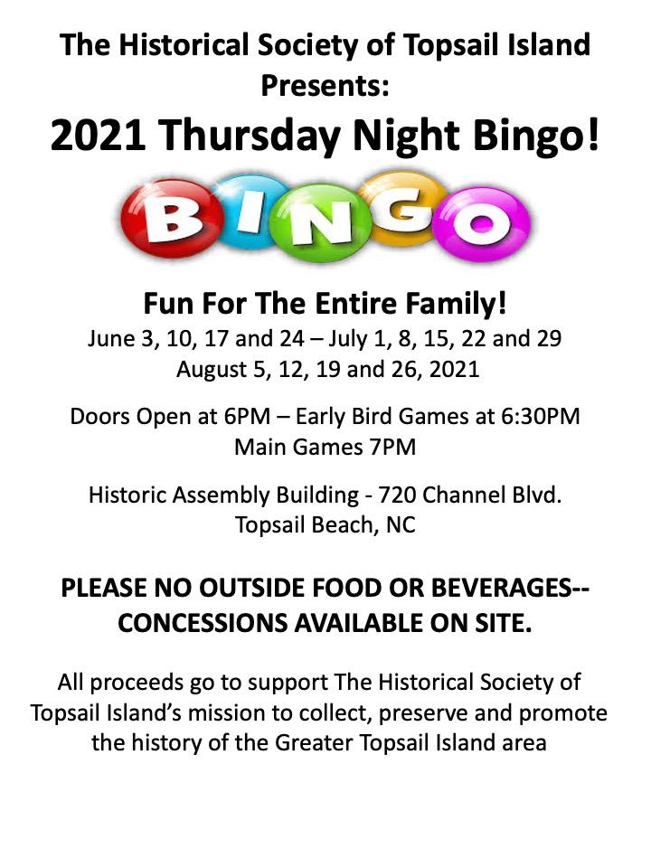 Historical Society of Topsail Island 2021 Bingo